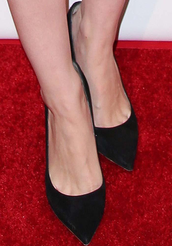 Rooney Mara's feet in black suede Nicholas Kirkwood wedges