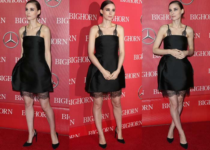 Rooney Mara wears a black lace dress from Lanvin on the red carpet