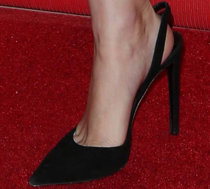 Rooney Mara's feet in black pumps