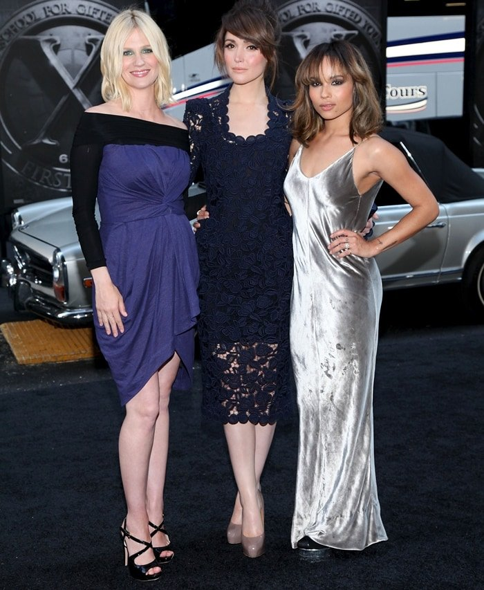 "Rose Byrne, Zoe Kravitz, and January Jones attend the premiere of ""X-Men: First Class"""