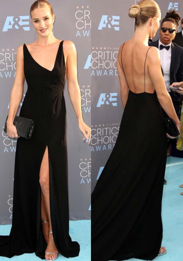 Rosie Huntington-Whiteley wears a head-to-toe look from Saint Laurent at the Annual Critics' Choice Awards