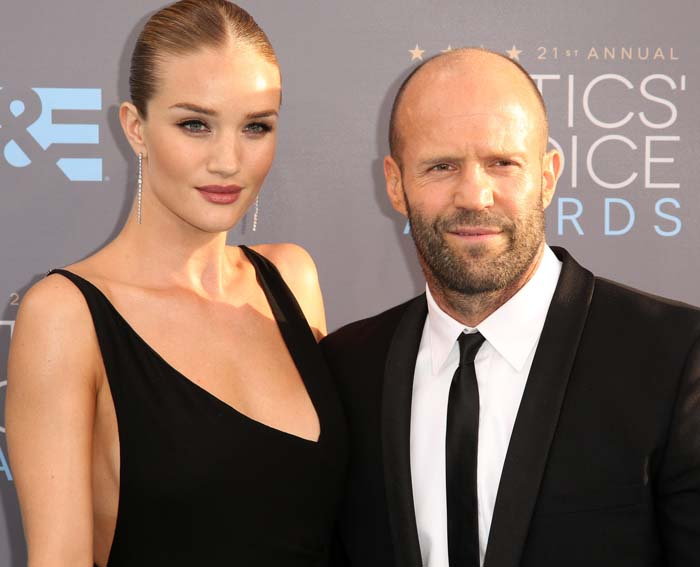 Rosie Huntington-Whiteley poses with fiancé Jason Statham at the 21st Annual Critics' Choice Awards