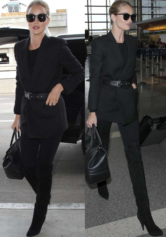 Rosie Huntington-Whiteley arrives at LAX in an all-black ensemble