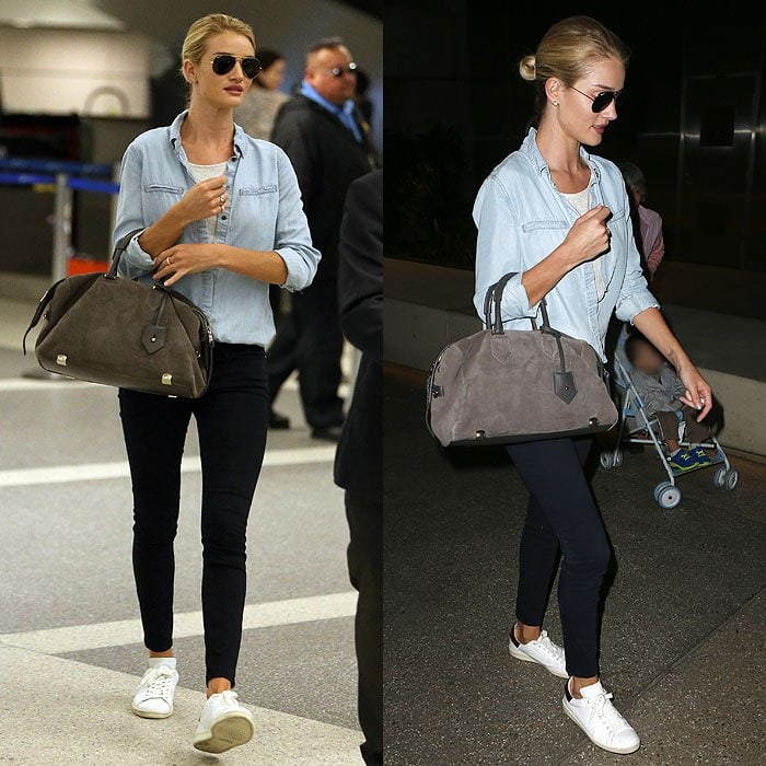 Rosie Huntington-Whiteley rocks white sneakers at Los Angeles International Airport (LAX)