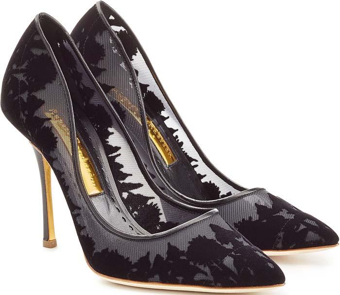 Rupert Sanderson Leather Mesh Heels