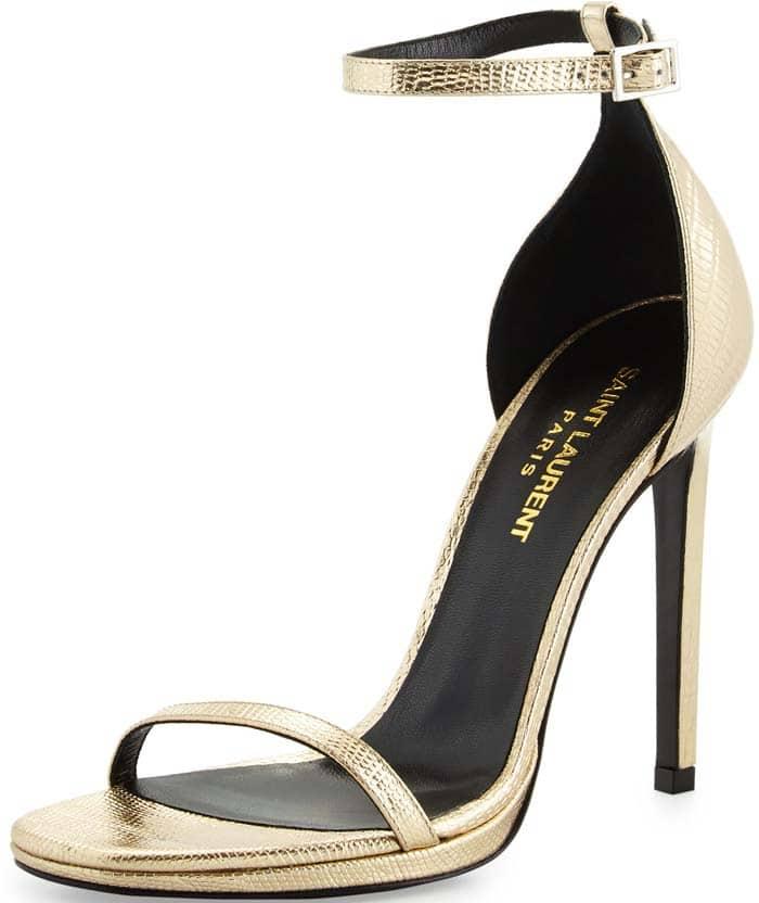 "Gold Saint Laurent ""Jane"" Sandal Heels"