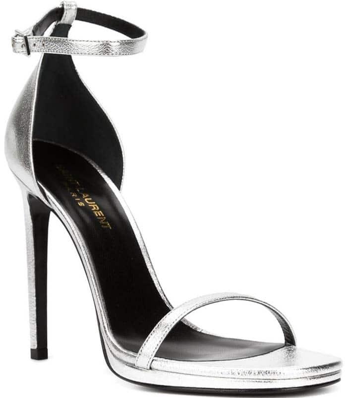 "Silver Saint Laurent ""Jane"" Sandal Heels"