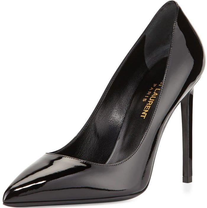 "Saint Laurent Classic ""Paris"" Skinny Pumps in Patent Black Leather"