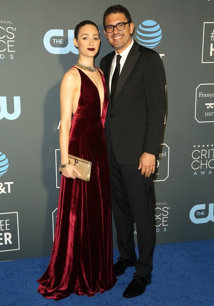 Sam Esmail towered over his much shorter wife Emmy Rossum at the 24th annual Critics' Choice Awards