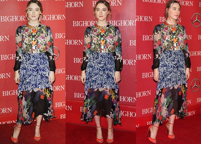 Saoirse Ronan wears a printed Duro Olowu dress on the red carpet