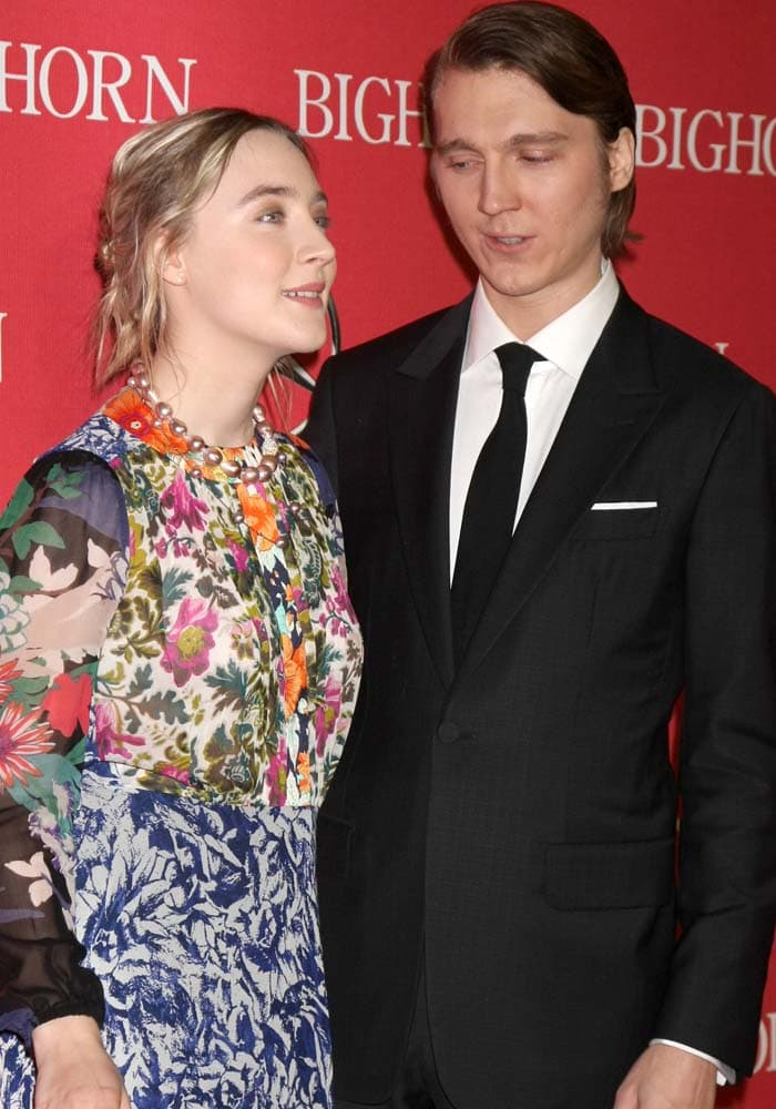 Saoirse Ronan poses with actor Paul Dano at the 2016 Palm Springs International Film Festival Awards