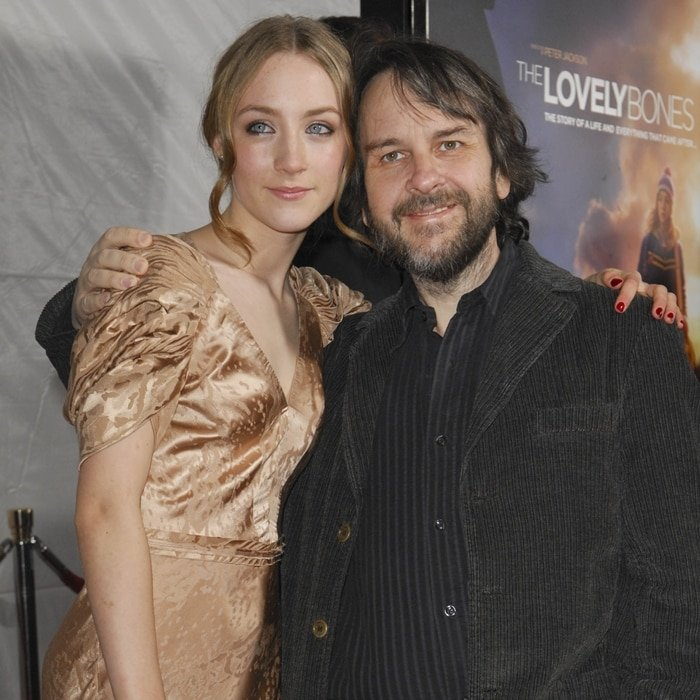Saoirse Ronan and director Peter Jackson at the Los Angeles premiere of The Lovely Bones