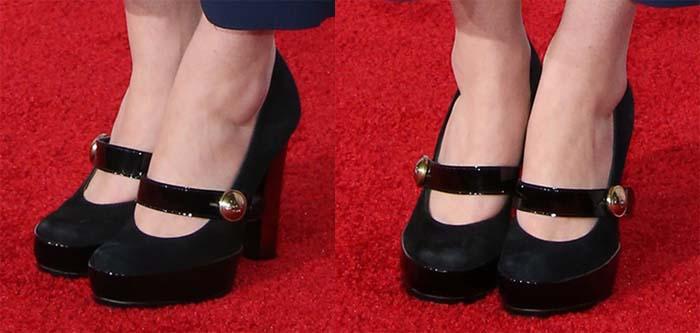 Sarah Drew's feet in silver-embellished Mary Jane heels