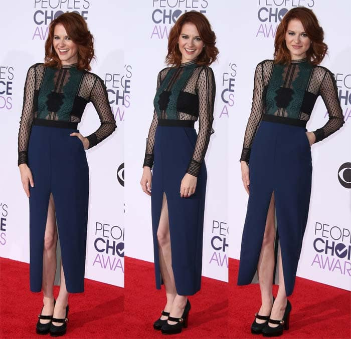 Sarah Drew pairs her Self-Portrait dress with a pair of Mary Jane shoes