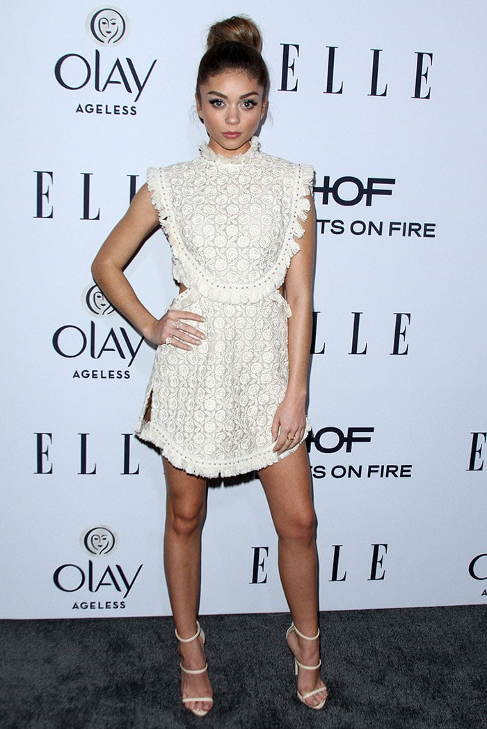Sarah Hyland wears her hair up at ELLE's Women in Television Celebration