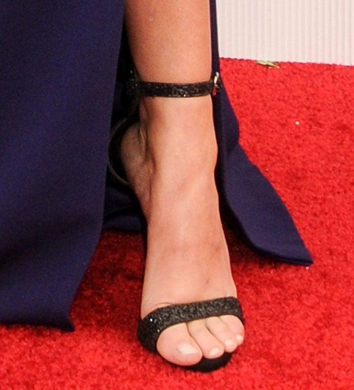 Sarah Hyland's feet in glittery Giuseppe Zanotti sandals