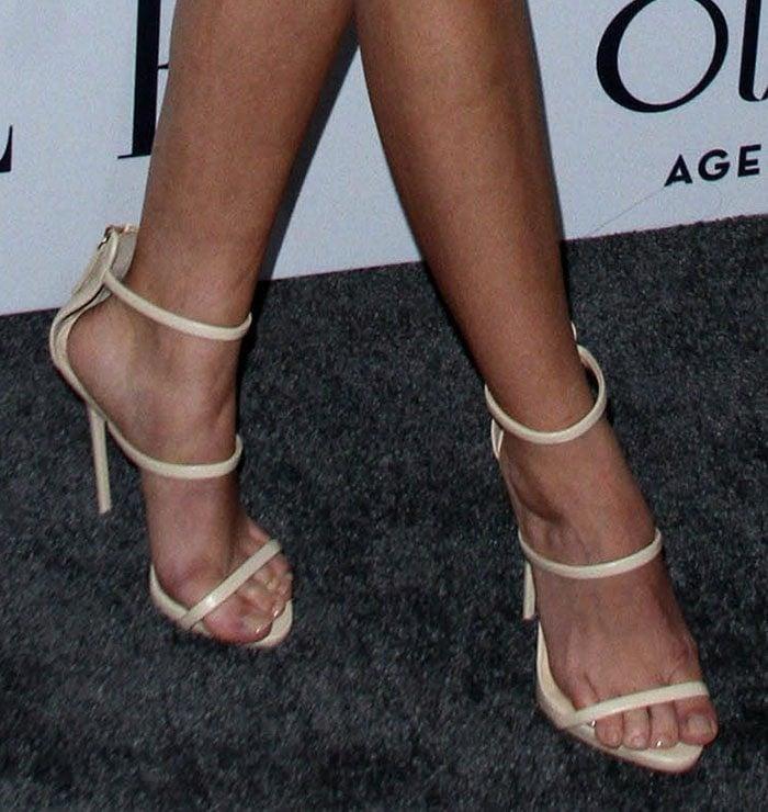 Sarah Hyland's feet in strappy Giuseppe Zanotti sandals