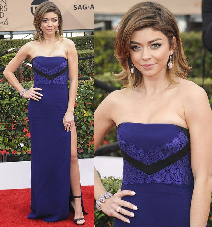 Sarah Hyland shows off her leg Angelina Jolie-style in a J. Mendel gown