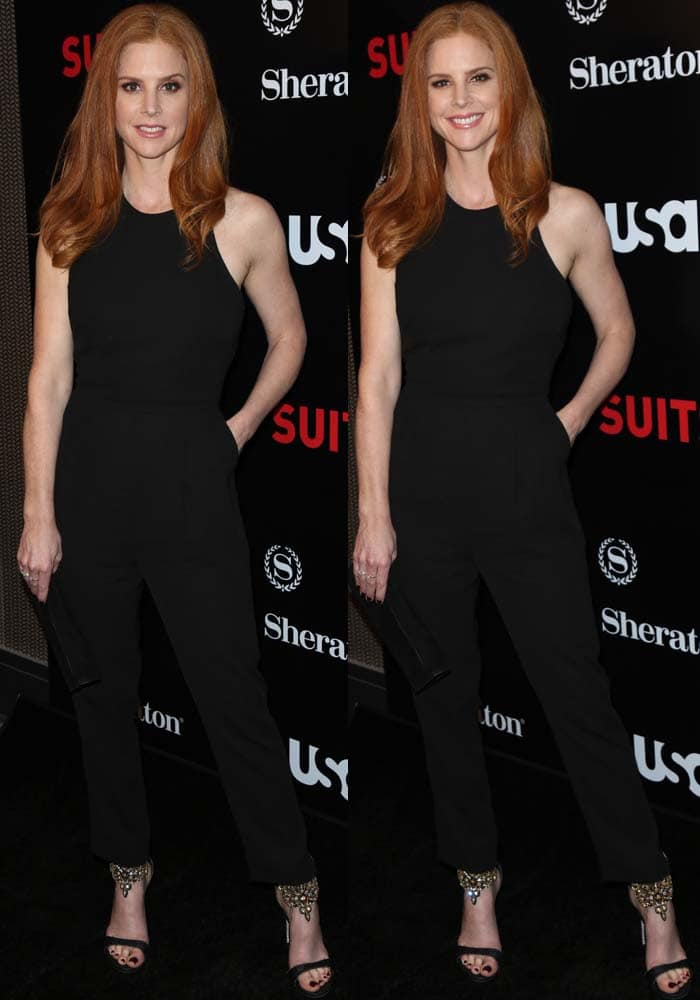 """Sarah Rafferty wears a classic black jumpsuit to the season premiere of """"Suits"""""""