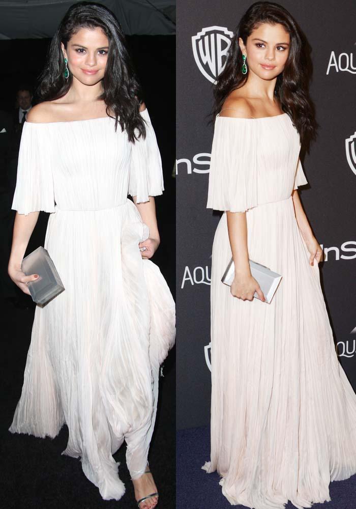 Selena Gomez looked like an angel in a flowy, blush-colored dress by J. Mendel