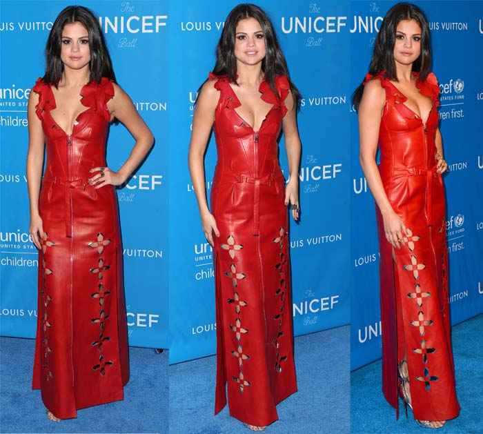 Selena Gomez wears a red leather Louis Vuitton gown at the UNICEF Ball