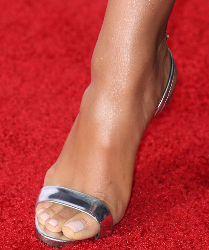Shay Mitchell showed off her sexy toes in metallic sandals