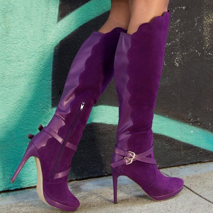 Knee-High Boots With Scalloped Edge and Wrap-Around Strapping