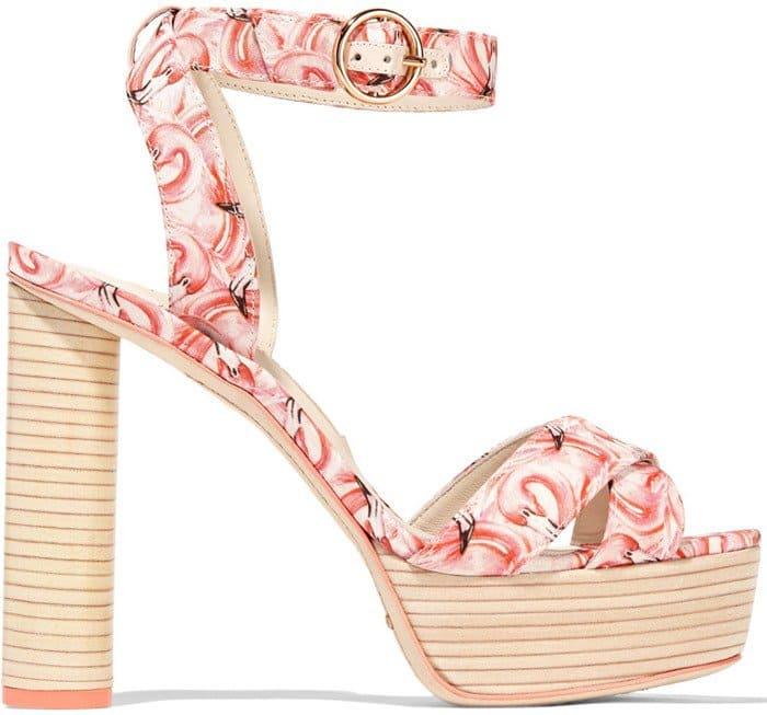 Sophia Webster Amanda Dreamy Flamingo printed satin platform sandal