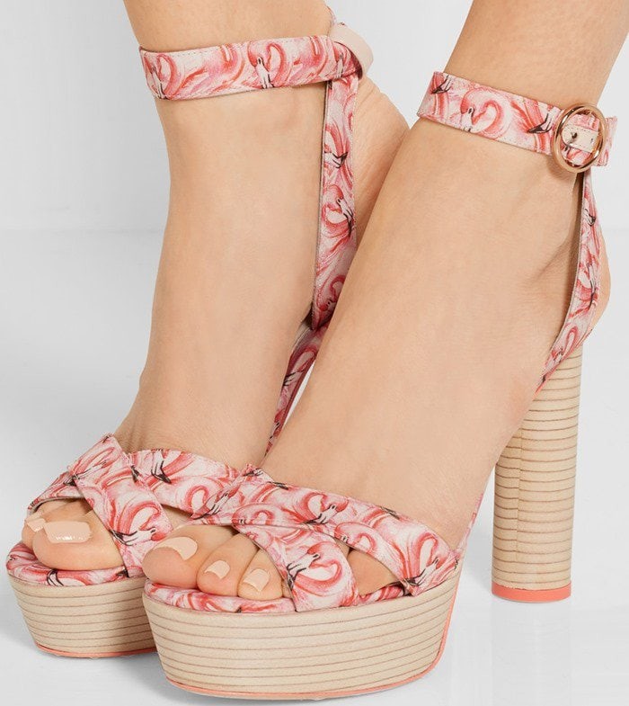 Sophia Webster Amanda Dreamy Flamingo printed satin platform sandals