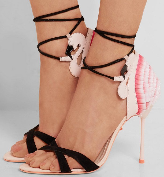 Sophia Webster Flamingo Frill leather, satin and suede sandal