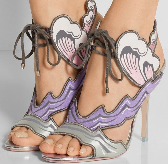Sophia Webster Heaven Tempest Orchid satin and suede sandals