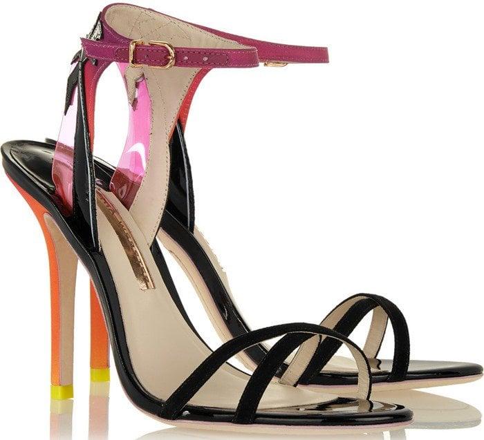 Sophia Webster Malibu Sunset vinyl-trimmed patent-leather, suede and satin sandal