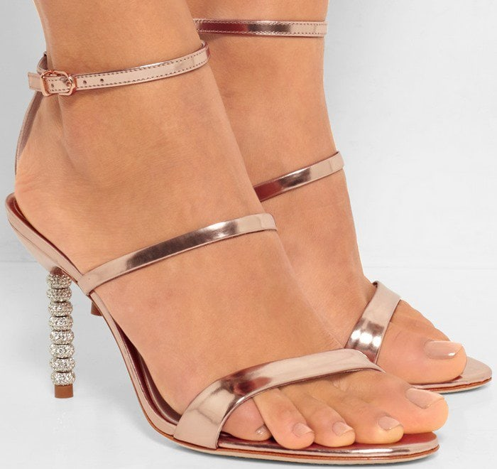 Sophia Webster's sandals have been crafted in Brazil from polished rose-gold leather – a warm and flattering hue on any skin tone