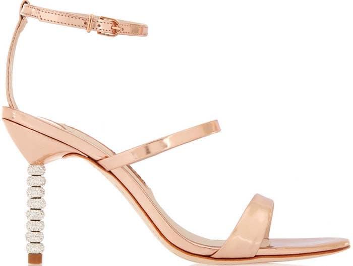 """Sophia Webster """"Rosalind"""" Crystal-Embellished Metallic Leather Sandals"""