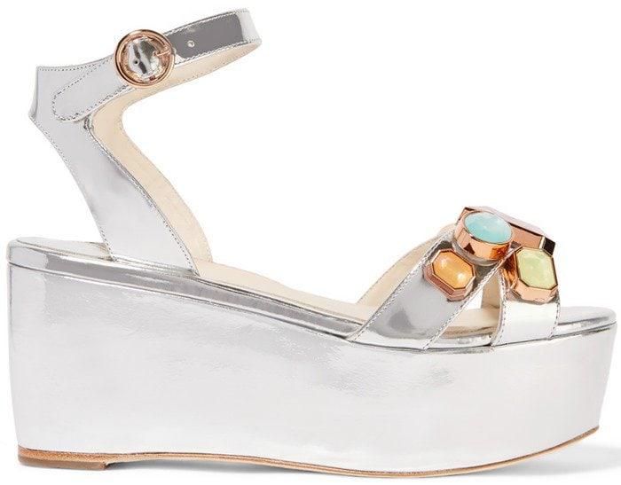 Sophia Webster Suki Gem embellished mirrored-leather sandal