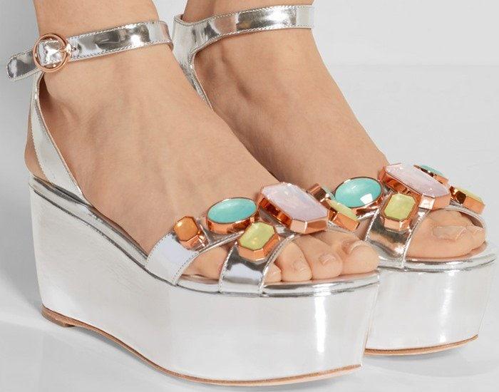 Sophia Webster Suki Gem embellished mirrored-leather sandals