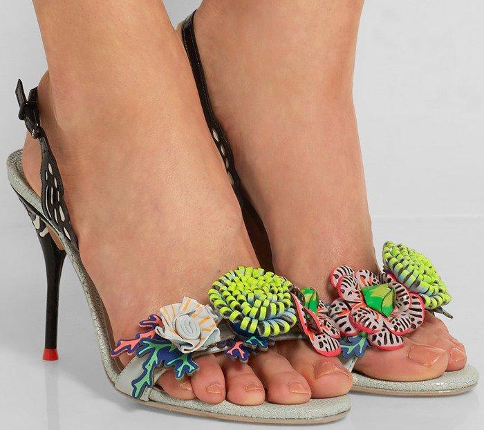 Sophia Webster Underwater Lilico appliqued leather slingback sandals