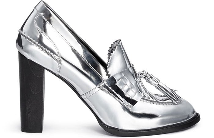 "Stella McCartney ""Hackney"" Mirror Eco Leather Block-Heel Loafers"
