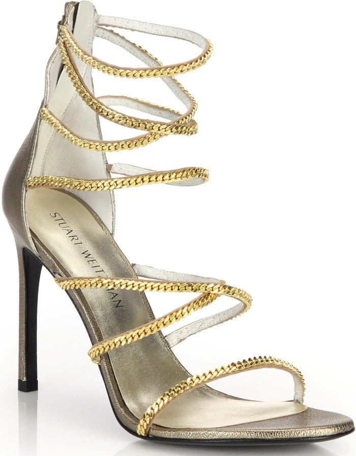 Stuart Weitzman Gold Xchain Metallic Leather Evening Sandals