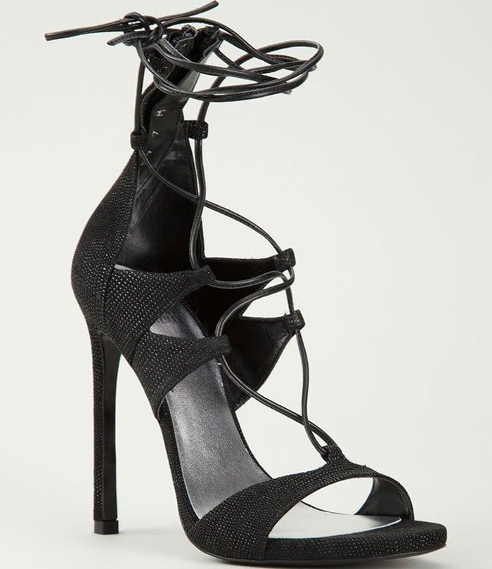 Stuart Weitzman Leg Wrap Lace-Up Sandals Black