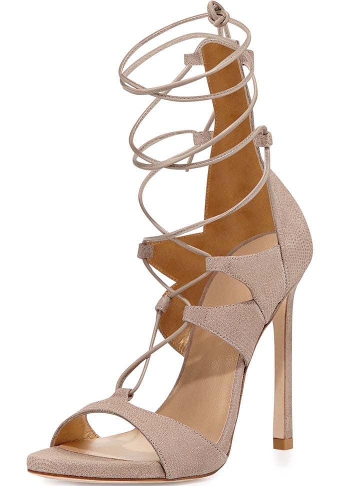 "Stuart Weitzman ""Legwrap"" Sandals in Fawn"