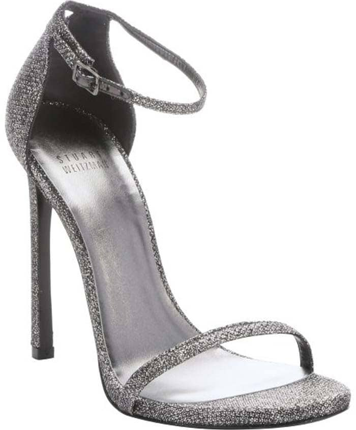 "Stuart Weitzman Pewter Glitter Lamé ""Nudist"" Stiletto Sandals"
