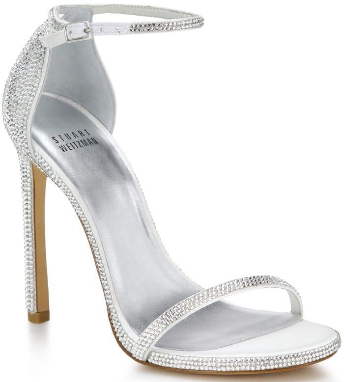 Stuart Weitzman Silver Pave Nudist Swarovski Crystal Sandals