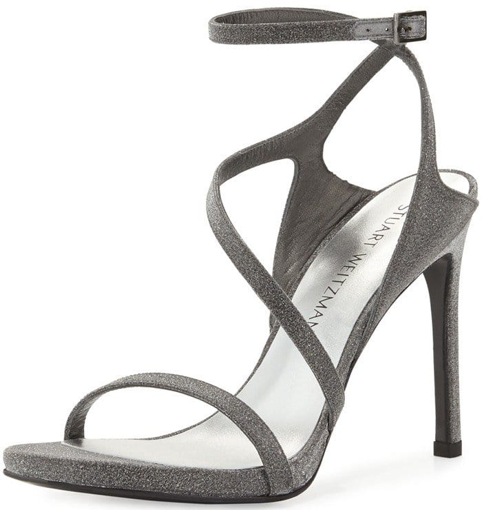 Stuart Weitzman Sultry Asymmetric Shimmer Evening Sandal