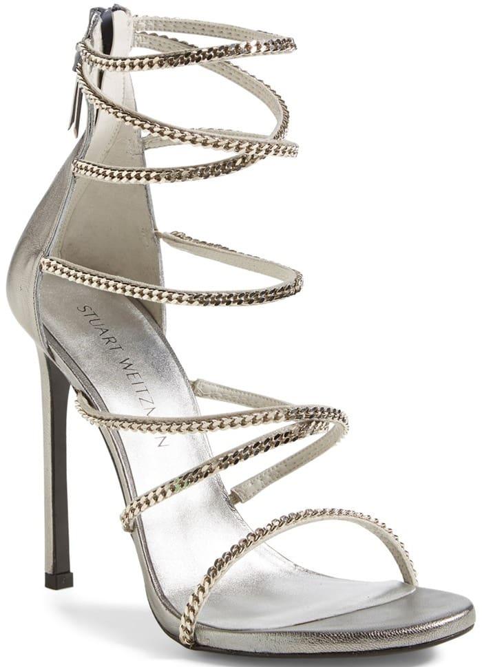 Stuart Weitzman 'XChain' Sandal Silver Chains