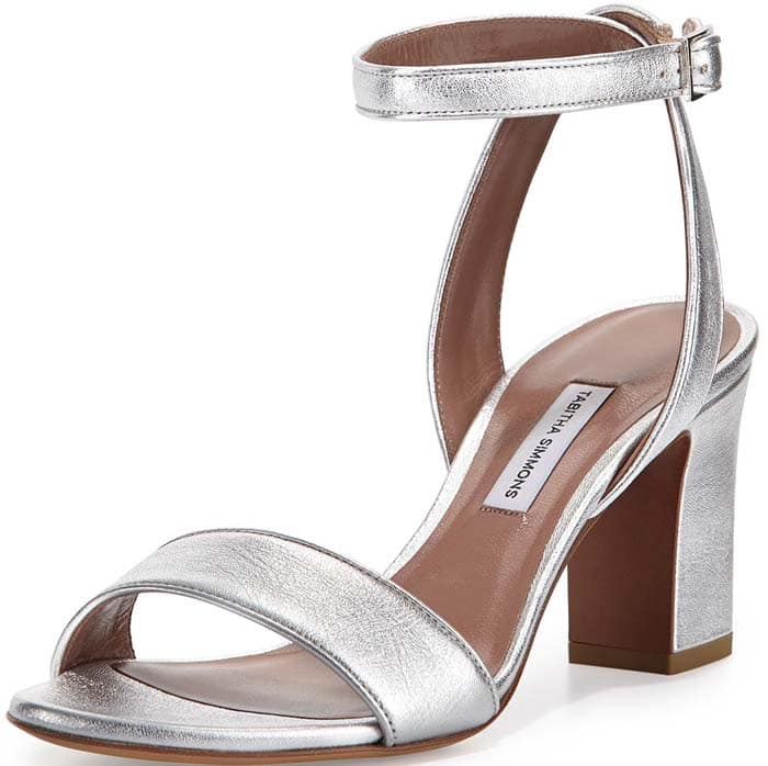 "Tabitha Simmons ""Leticia"" Metallic Ankle-Wrap Sandal in Silver"