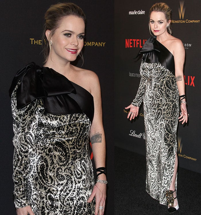 Taryn-Manning-Lanvin-paisley-satin-one-shoulder-dress