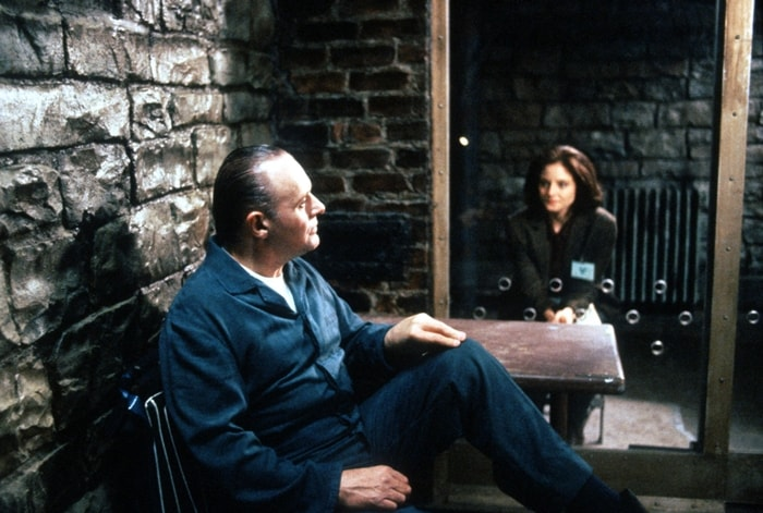 Jodie Foster as Clarice Starling and Anthony Hopkins as Dr. Hannibal Lecter in the 1991 American psychological horror film The Silence of the Lambs