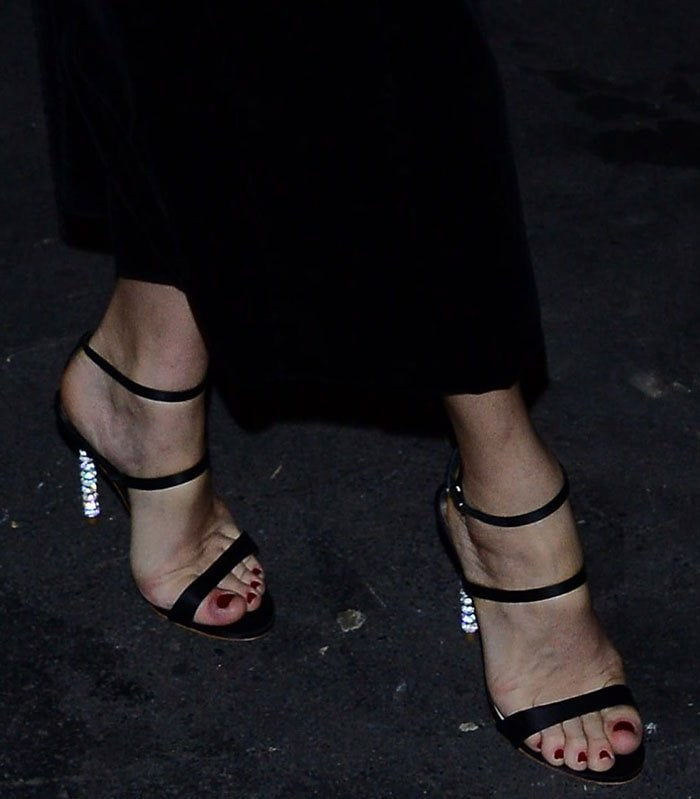 Uma Thurman's feet in crystal-heeled Sophia Webster sandals
