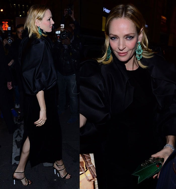 Uma Thurman wears a black velvet dress at Paris Fashion Week